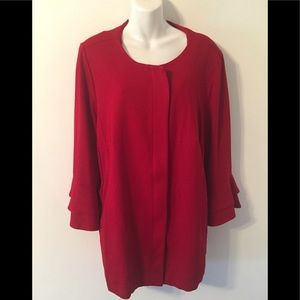 New Eloquii Red Ruffle Sleeves Blazer Jacket Sz 22